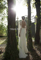 New Arrival Vintage See Through Sheer Lace Long Sleeves Backless Berta Beach Wedding Dress Bridal Gown Free Shipping