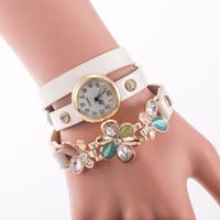 2015 New Women PU Leather Strap Watches Flower Bracelet Women Dress Watch Wristwatches Top Brand Opal Girl's Gift Fashion reloj