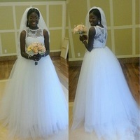 Free Shipping New Arrival Tulle Wedding Dress with Cap Sleeves Custom size/color