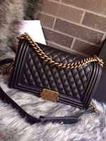 High-End Customized Vintage 25cm Quilted Leboy Flap Bag Black Genuine Lambskin Leather Handbags Classic Plaid Chain Shoulder Bag