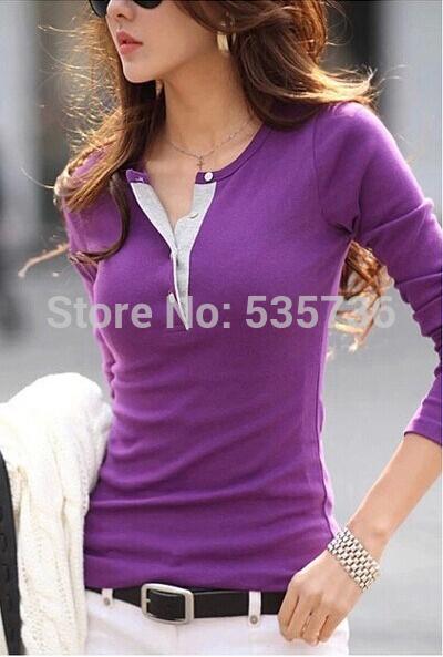 2014 new hot sale marca primavera outono novas mulheres casual e moda camisa de algodão encabeça bonitos elegantes mangas compridas t-shirt 2337(China (Mainland))