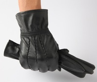 Free shipping men's Warm gloves for winter Sheepskin genuine leather gloves black color 2 style 805