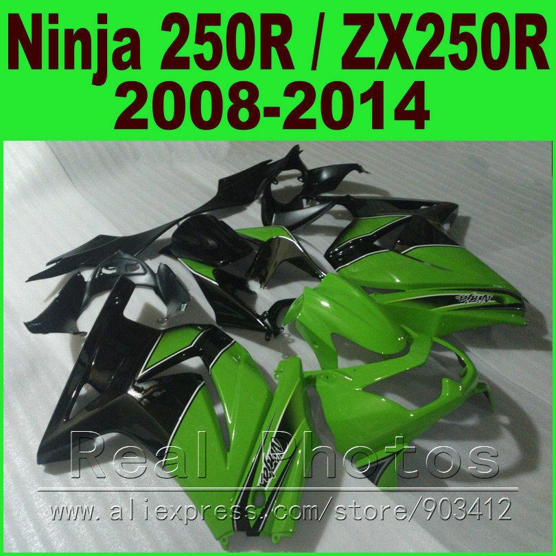 OEM green black Kawasaki Ninja 250r Fairings kit EX250 2008 - 2014 year model ZX250R 08 09 10 11 12 13 14 fairing kits R8L6(China (Mainland))
