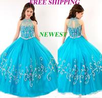 73 2015 luxury beads halter ball gown flower girl dresses for weddings girls pageant dresses prom dress custom made 2015