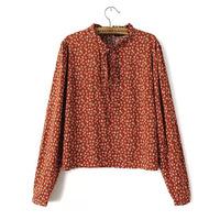 2015 European and American fashion new Miss Bai Hua small orange cotton long-sleeved shirt NA1814