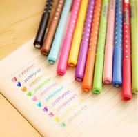 12 pcs/Lot Rainbow Gel pen Dot & dots cute pen Stationery Caneta papelaria Gift Office material escolar school supplies