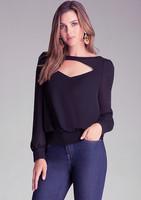 Hot Hollow Out Blusas Femininas Women Shirts 2015 New Women Open Neck Casual Long sleeved Black Chiffon Blouse Shirt Tops J1073