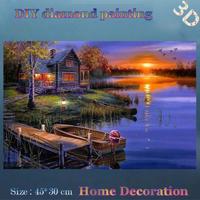 DIY Full diamond embroidery Fisherman hut sunset Landscape Handmade crafts home decor diamond mosaic wall decor Gifts