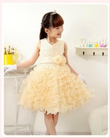 free shipping  new girls dress V-neck beads multi-dimensional flowers placed Eugen veil dress Children clothes
