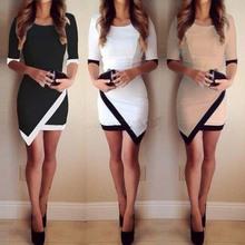 2015 мода женщин свободного покроя платье платья повязки Bodycon асимметричный лоскутное платья рабочая одежда свадебные платья femininos Большой размер