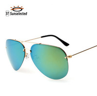 Women's Sunglasses 2015 New Oculos Aviator Polarized Glasses Fashion Outdoor Beachwear High quality Gold yellow green lens sg261