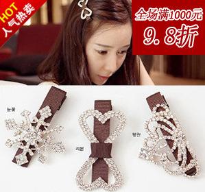 2015 Sale Tiara Wedding Accessories Tb94 Yiwu Bridal Headdress Side Folder Snowflake Bow Hairpin Word Korean Hair Accessories(China (Mainland))