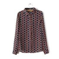 Xuanlin 2015 new arrive casual classical women shirts long sleeve chiffon print plaid women blouses J1075