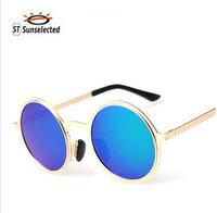 Sunglasses Women Polarized Glasses 2015 New Round Oculos de sol Feminino Fashion Outdoor Eyewear  Blue Mirror Lens sg263