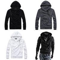 Chic Men Oblique Zipper Fleece Hoodies Cowl Neck Design Tops Vogue Cotton Jacket