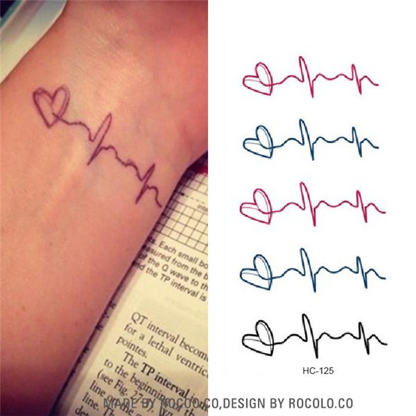 HC1125 Waterproof Temporary Tattoo Stickers Creative Love Electrocardiogram Ecg Tattoo Sticker Lover Sexy Fake Tattoo Retail(China (Mainland))