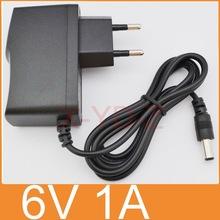 1PCS 6V1A New AC 100V-240V Converter Adapter DC 6V 1A 1000mA Power Supply EU Plug DC 5.5mm x 2.1mm Free post shipping(China (Mainland))