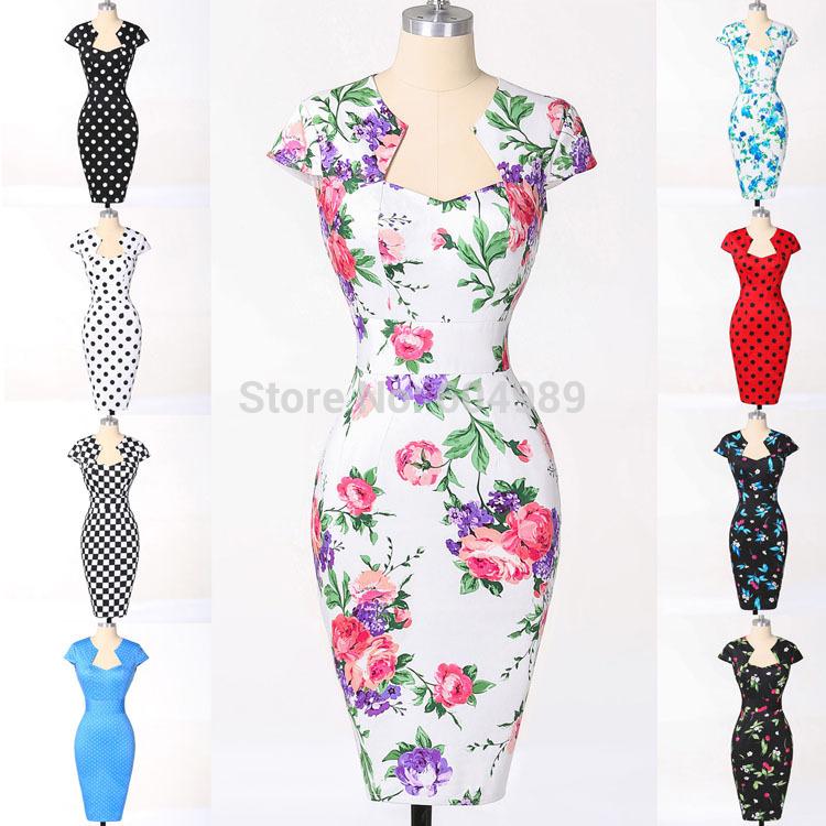 где купить Женское платье Grace Karin Plus 50s vestido bodycon 75 Women Vintage Dress по лучшей цене