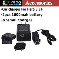 GoPro Accessories 2pcs 1600mah batteries + EU (US) Car Quick  Battery Charger kit  For Hero 3 3+ acessorios Camera Free Shipping