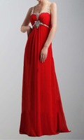 Pretty A-Line Sweetheart Beaded Waistline Chiffon Long Red Spaghetti Straps Prom Gowns