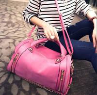 Personality Nubuck Leather Barrel Shaped Handbag Women Casual Punk Chains Shoulder Bag Large Travel Bag Bolsas 771e