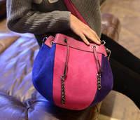 2015 Stitching Hit-color Bucket Bag Drawstring Women Mini Shoulder Bag High Quality Frosted PU Leather Messenger Bag Bolsas 772e