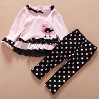 Sale Children Costume baby clothing set girls clothing sets infant Kids dress+polka dot pants two piece set roupas meninos HB098