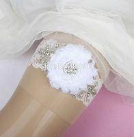 Wholesale New Original Design White Shabby Chiffon lace Wedding garter for Bridal garter  handmade with charms
