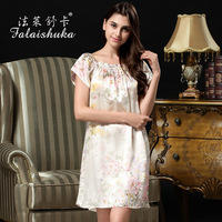 Ms. summer factory wholesale 100% silk pajamas silk nightgown big yards short sleeve dress S209
