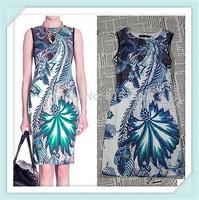 [REAL SHOT] Top Quality Stunning New Print Women Sheath Dress Sleeveless Party Dresses FREE SHIPPING