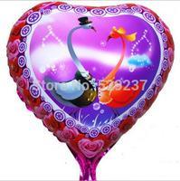 Free Shipping~ 10pcs/lot 18 inch Wholesale Helium balloons LOVE valentine's day Aluminum balloon hearts swans balloon