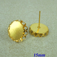 15mm New Gold tone Plated Copper Blank Bases Round Hollow Wall Bezel Cabochon style Stud Earrings Settings Findings Wholesale