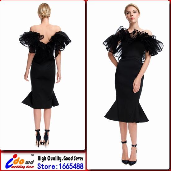 2015 Unique Short Evening Dress vestidos de fiesta With V back and Special Boat Neck Ruffles Black Mermaid Taffeta Party Dresses(China (Mainland))