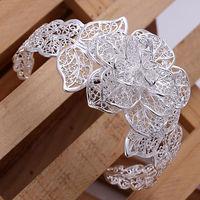 2015 new 925 silver flower bracelet silver Bangles Bracelets Fashion floral Bangle Wholesale Fashion Jewelry pulseiras femininas