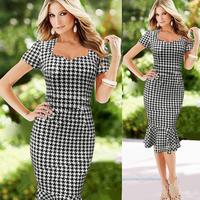 2015 Spring summer fishtail black Bodycon Women business Casual plaid office Sheath elegant cotton pencil Midi womens Dress b42