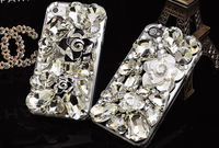 for iphone 6 6plus 5G 5S 5C 4G 4S,2015 NEW transparent Rhinestone Diamond  Back Cover,Crystal Bling Camellias flower Case