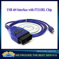 2015 Promotion Car Diagnostic Cables USB 409 interface KKL OBD2 USB Cable Scanner Scan Tool For AD VW