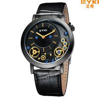 EYKI Men's Watch Luxury Brand Business Leather Watches, Dual Time Digital Japan Movt Quartz Analog Watches,Waterproof Wristwatch