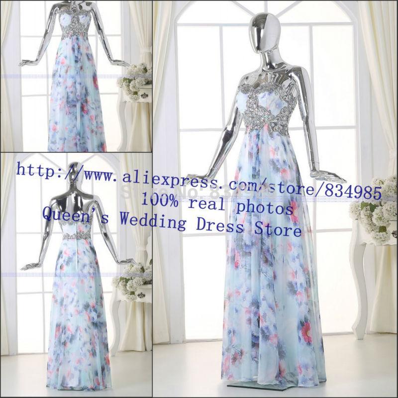 2015 Fashion Printed fabrics High Quality Evening Dress Sweetheaty Appliques Charming Sexy Long Prom Dress Real Photos(China (Mainland))