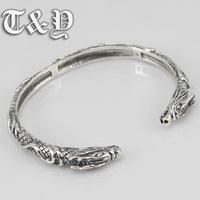 S925 Sterling Silver Jewelry Vintage Silver double tap opening domineering Bracelet neutral Dragon Bracelet special