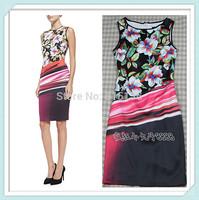 [REAL SHOT] Brand Women Wave-Print Dress Sleeveless Round Neck Mini Party Dresses Free shipping