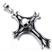 Mens Gothic Biker Skull Motorcycle Stainless Steel Pendant Necklace, Cross KR5636