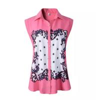 2015 New Fashion Summer Women's Shirts Print Sleeveless Chiffon Shirt Turn-down collar Female Shirt