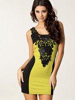 Elegant Womens Sexy Lace Floral Print mini Bodycon pencil Dress Round Collar contrast color dress Party dresses
