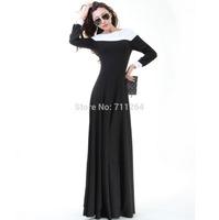 WOMEN AUTUMN WINTER  LONG SLEEVE FULL SWEEP KNIT MAXI DRESS