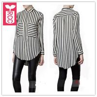High quality Newest 2015 Chiffon Big pocket asymmetry blouse womens Loose Black white stripes tops tees,shirts