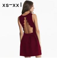 XS-XXL New Arrived Drerss Of Women Spring And Summer Fanghaped Laciness Racerback Waist Zipper A Slim One-piece Dress