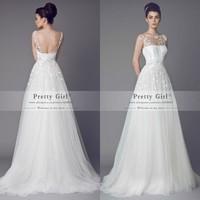 Romantic Lace Tulle Vintage Wedding Dresses Sheer Scoop Appliques Backless Fashionable Cheap Wedding Gowns 2015 Vestido De Noiva