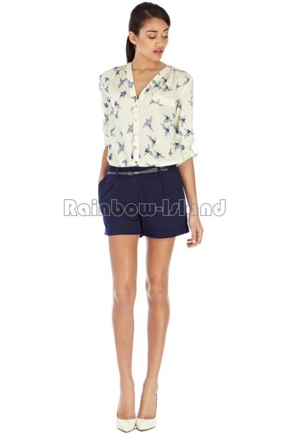 ST735 New Fashion Ladies' elegant Butterfly Bird Animal print blouse long Sleeve casual slim shirts blusas femininas V-neck tops(China (Mainland))