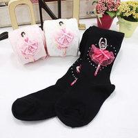 SKL S090 dance girl flower children tight spring/autumn knit cotton stockings princess ballet accessories birthday gift hot sale